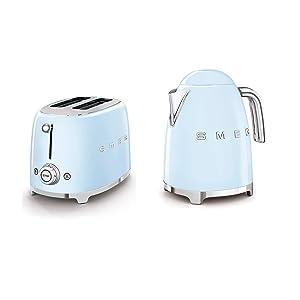 SMEG 2-Slice Toaster & 1.7-Liter Kettle in Pastel Blue
