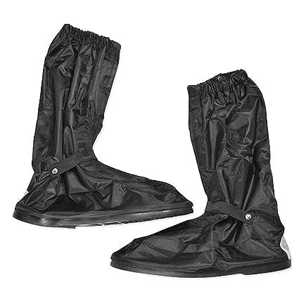 Pixnor - Cubre-botas impermeable con cremallera, suela de goma antideslizante, cañ