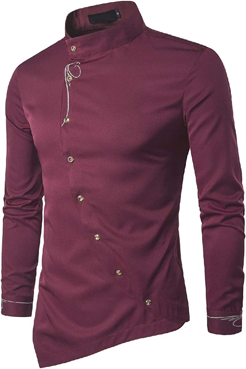 Men Slim Casual Embroidery Long-Sleeve Irregular T-Shirts