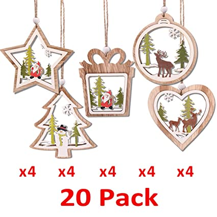 Partybus 3d Wooden Christmas Ornaments 20 Pack Unfinished Wood Cutouts For Holiday Card Decoration Xmas Gift Tags For Kids Art Craft Diy Burlap