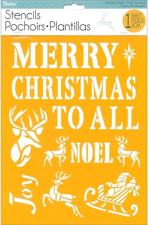 Darice 30018434 Craft Stencils Holiday Quotes, 8.5 x 11 inches, Merry Christmas To All, Noel, Joy, Deer, Santa, Sleigh,Yellow, White