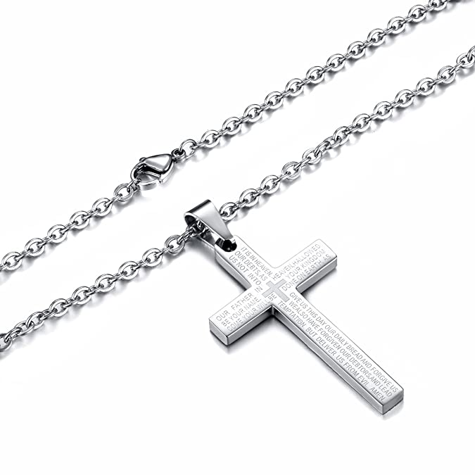 Jonline24h Stainless Steel Mens Lords Prayer Cross Pendant Necklace Gift, Silver, 18-26 inch Chain (20 Inches) | Amazon.com