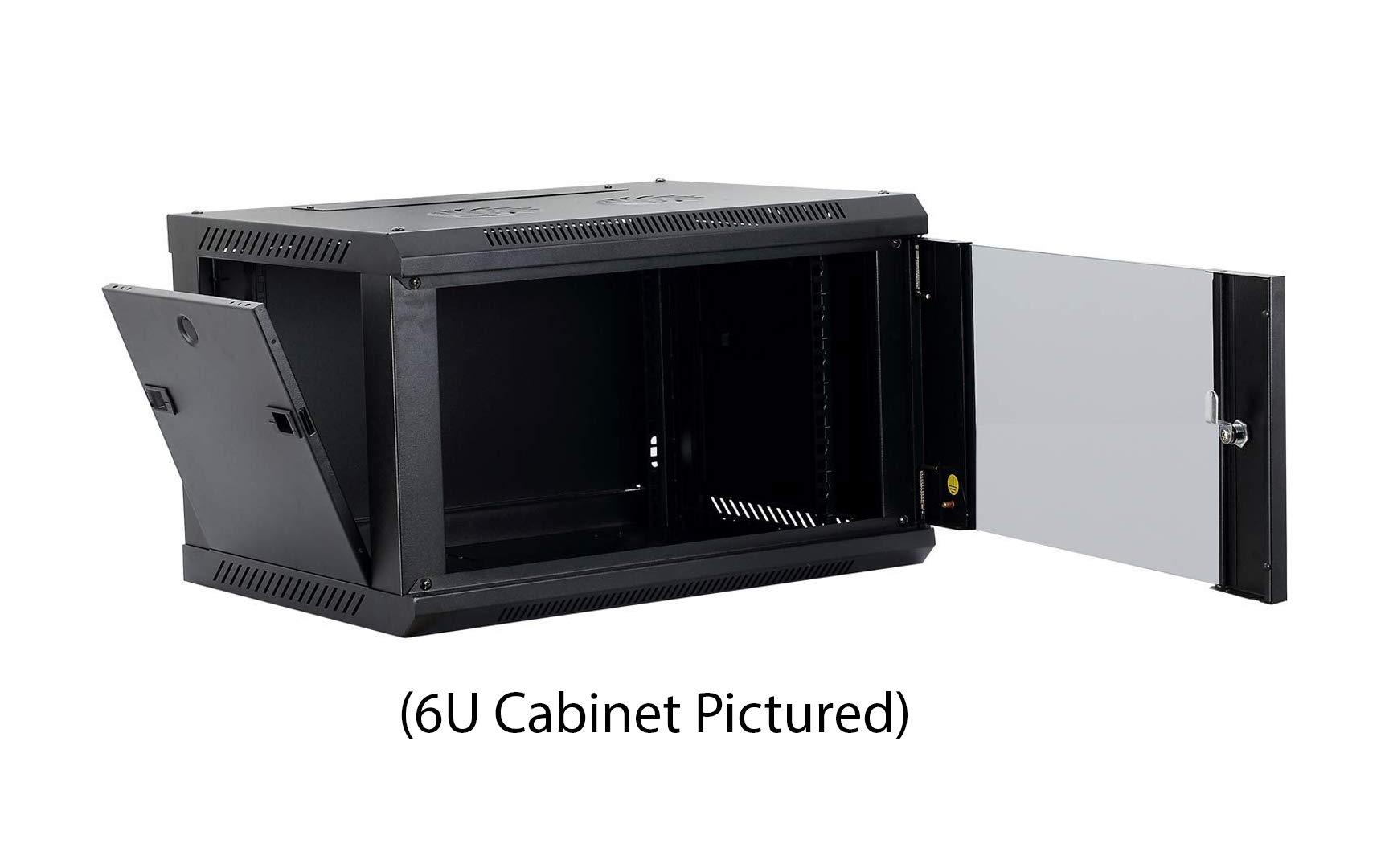 Kenuco 9U Wall Mount Rack Server Cabinet Data Network Enclosure 19-Inch Server Network Rack with Locking Glass Door Black by KENUCO (Image #4)