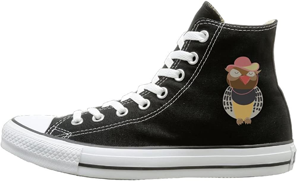 Buecoutes Hat Eagle Canvas Shoes High Top Casual Black Sneakers Unisex Style