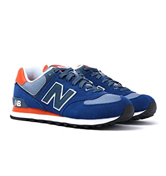 New Balance 574 Royal Blue & Orange Suede Trainers UK 7