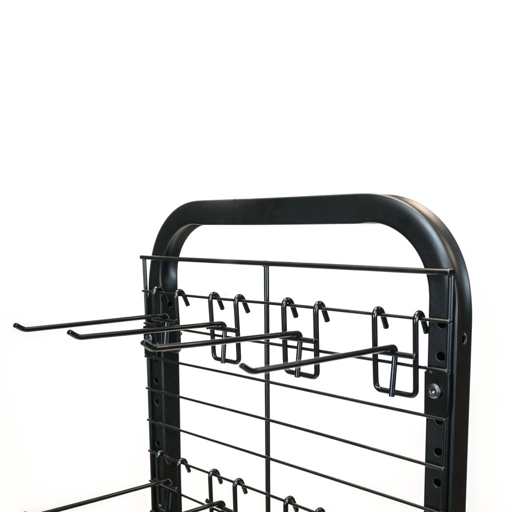 Rich DLXS-16ME-24HK6B Floor Display with Metal Tube Frame, Metal Base with Rear Wheels, Wire Grid Panel, and 24 Removable 6'' Hooks. Black Powder Coated Finish by RICH (Image #3)