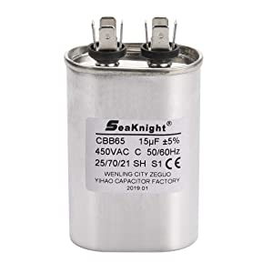 BlueCatELE Generic 15 uF MFD CBB65 Air Conditioner Capacitor Refrigerator Compressor Capacitor Motor Run Capacitor Oval Compatible for GE 979004 and Other Compressors' Capacitor