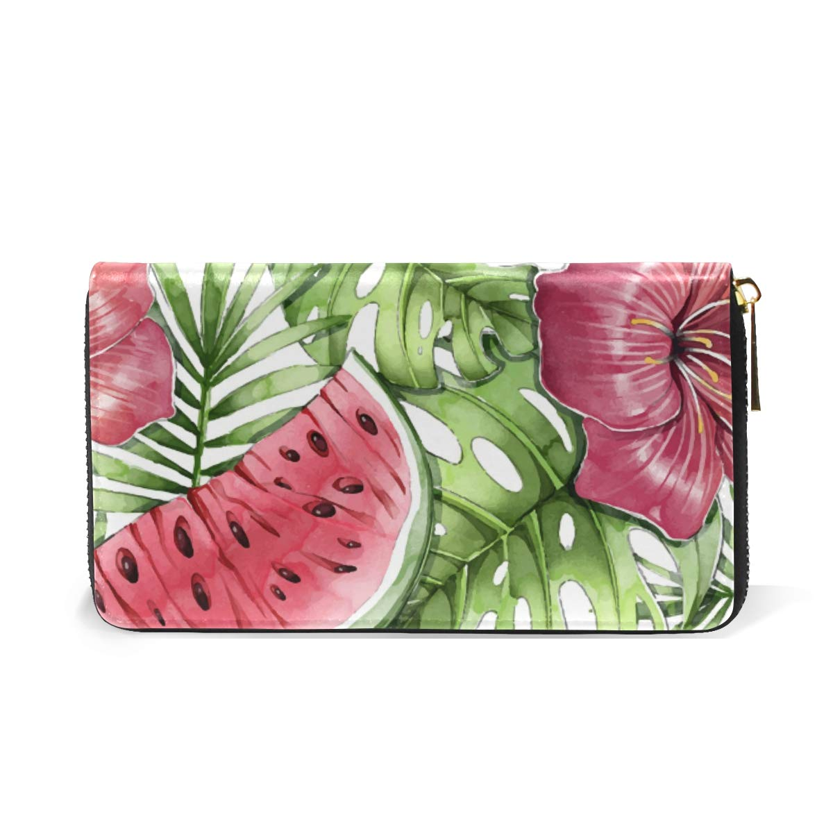 Women Wallet Coin Purse Phone Clutch Pouch Cash Bag Female Girl Card Change Holder Organizer Storage Key Hold Leather Elegant Handbag Party Birthday Gift Watercolor Tropical