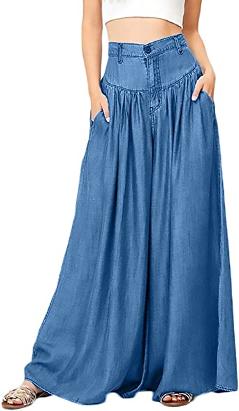 Pantalones Mujer Elegante Tallas Grandes Color Solido Cintura Alta Casual Mujeres Basicos Largo Amplia Pierna Pantalon Ropa Fiesta Moda Amazon Es Ropa Y Accesorios
