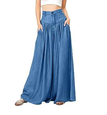 65aa3d8289e5 Hosen Damen Haremshose Elegant Große Größen Uni-Farben Tailliert Lang Hose  Casual Wide Leg Pants