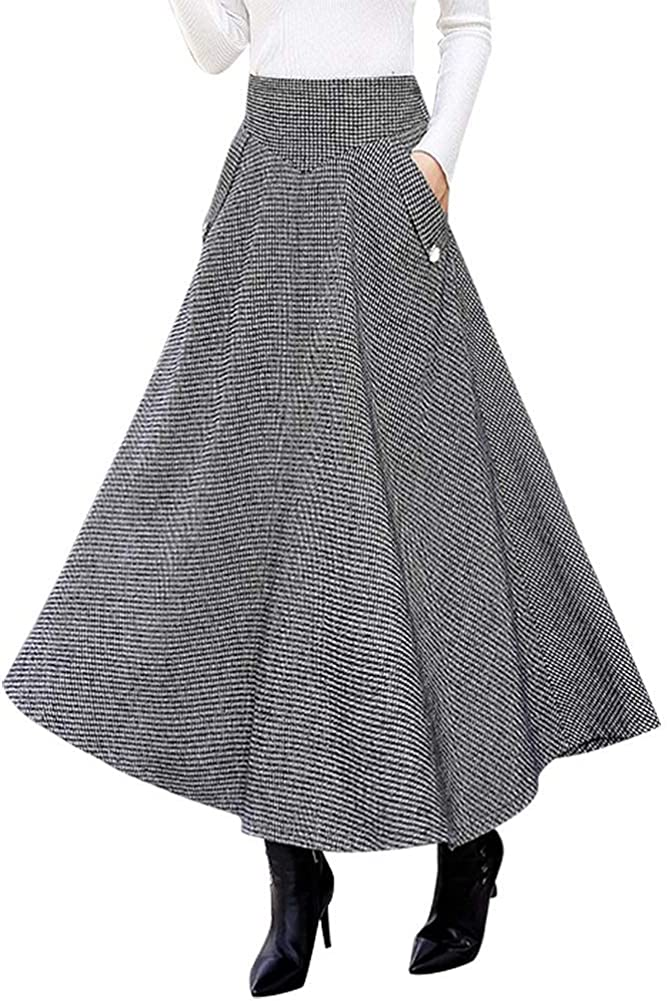 1950s Swing Skirt, Poodle Skirt, Pencil Skirts IDEALSANXUN Women's Fall/Winter High Waist Plaid Slim A-line Long Skirt $36.99 AT vintagedancer.com