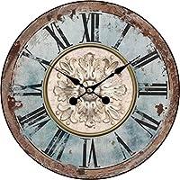 Orologio da parete – Orologio da cucina in legno con grande quadrante orologio retrò Shabby Chic Design , Ø: 34 cm…