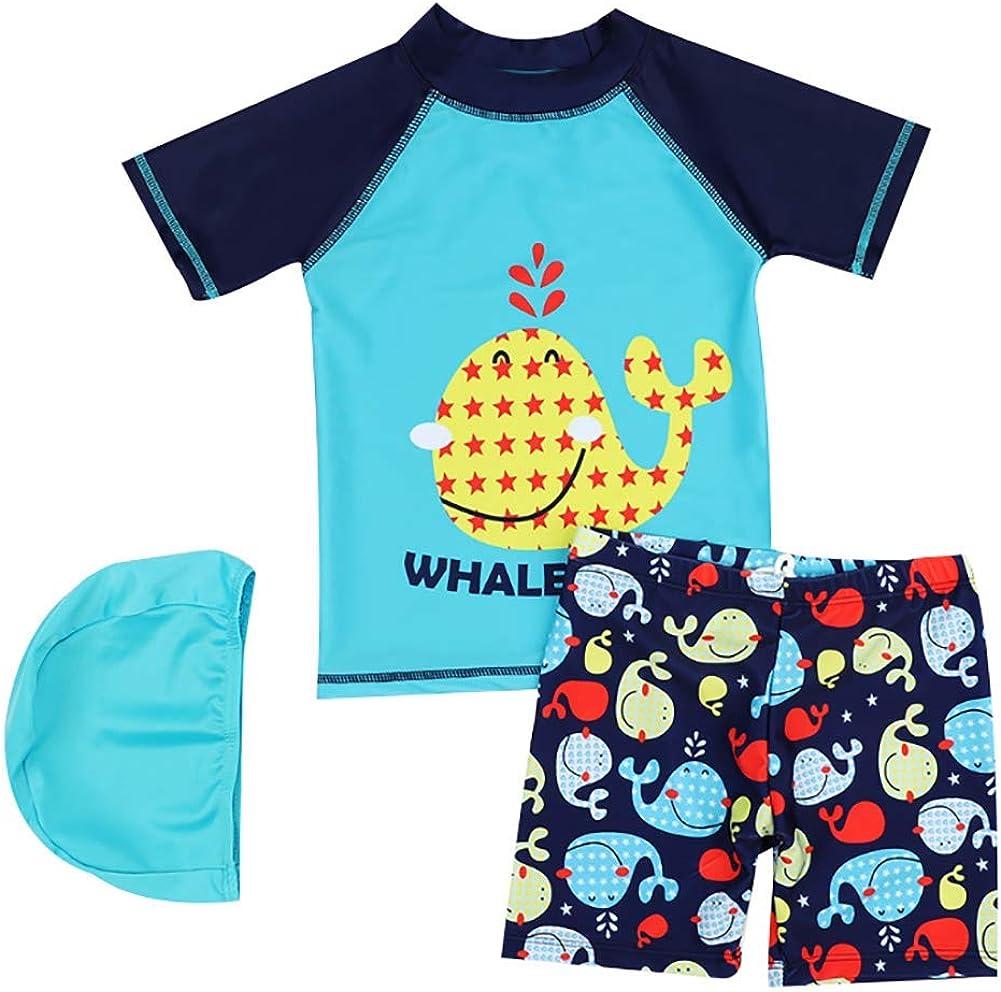 Baby Children Boys Two Piece Swim Cartoon T- Shirt + Trunks Set UPF50+ Rash Guard Bathing Suit Swimwear
