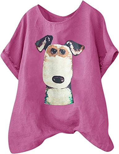 Amazon Com Funny Cartoon Dog Print Women T Shirt Ladies Round