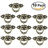 Tinksky 10pcs Vintage Kitchen Cabinet Cupboard Dresser Door Drawer Ring Pull Handles Knobs-Antique Brass