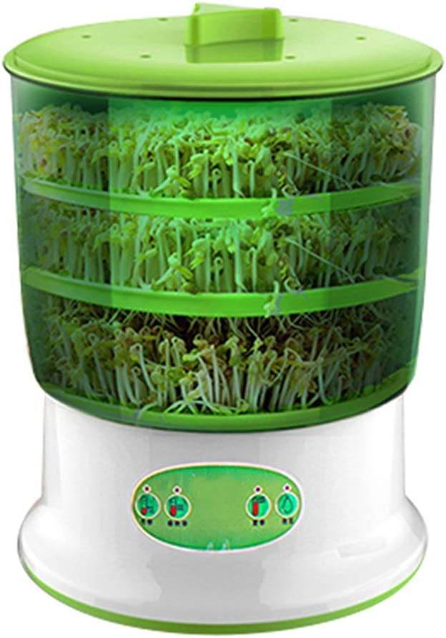 ValueVinylArt Bean Sprouts Machine, Automatic Sprouter Machine Seed Bean Sprouts Growing Machine Large-Capacity Sprouting Seedling Machines Food Grad PP Material Power-Off Memory Function Sprouter