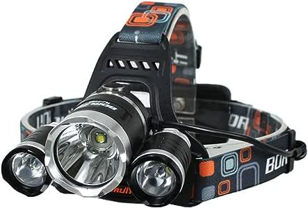 Patuoxun Linterna Frontal 5000 Lumens 3X CREE XM-L XML T6 LED Foco para Cabeza Foco Headlight para Correr Senderismo Ciclismo por la Noche