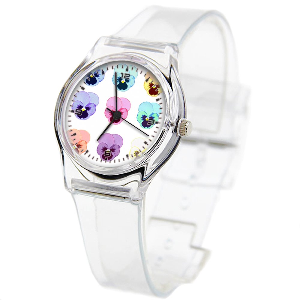 Personality Transparent Wristwatch Transparent Strap Summer Decoration Woman Child teacher Teen Young Girls Children Kids Watches Colorful Flower-492.Pansies Art by Girlsight