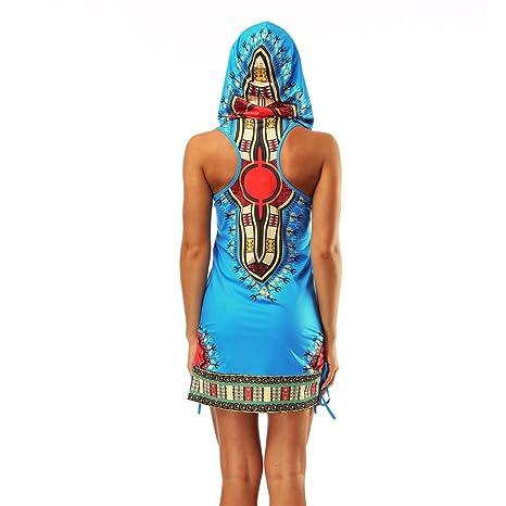 AMOMA Damen SommerKleid Hooded Mini Kleid Ärmellose Kapuzenpullover ...