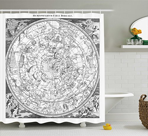 Ambesonne Constellation Shower Curtain, Detailed Vintage Boreal Hemisphere Astronomy Ancient Antique Figures Artwork Print, Fabric Bathroom Decor Set with Hooks, 70 inches, Grey by Ambesonne
