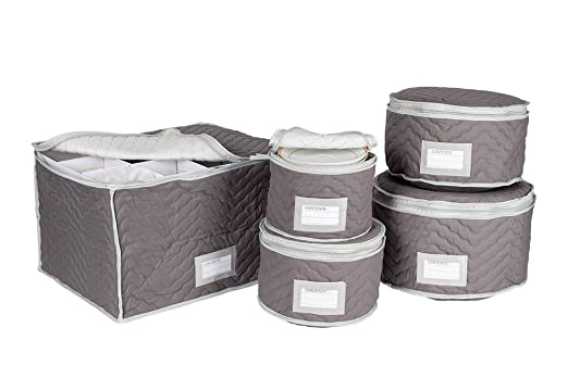 China And Stemware Storage Set Deluxe Microfiber With Braidz Foam Padding    Grey