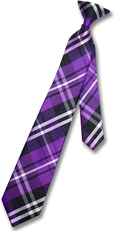 New Kids Boys Zipper Adjustable Pre-tied Necktie Purple Lavender Stripes formal