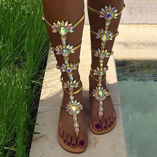 YFF Mme Sandals forage en eau fond plat ,34,gold