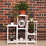 ALUS- Flower racks Solid wood living room balcony multi-storey flower rack Ground assembling multi - layer wooden flower pots ( Color : White )