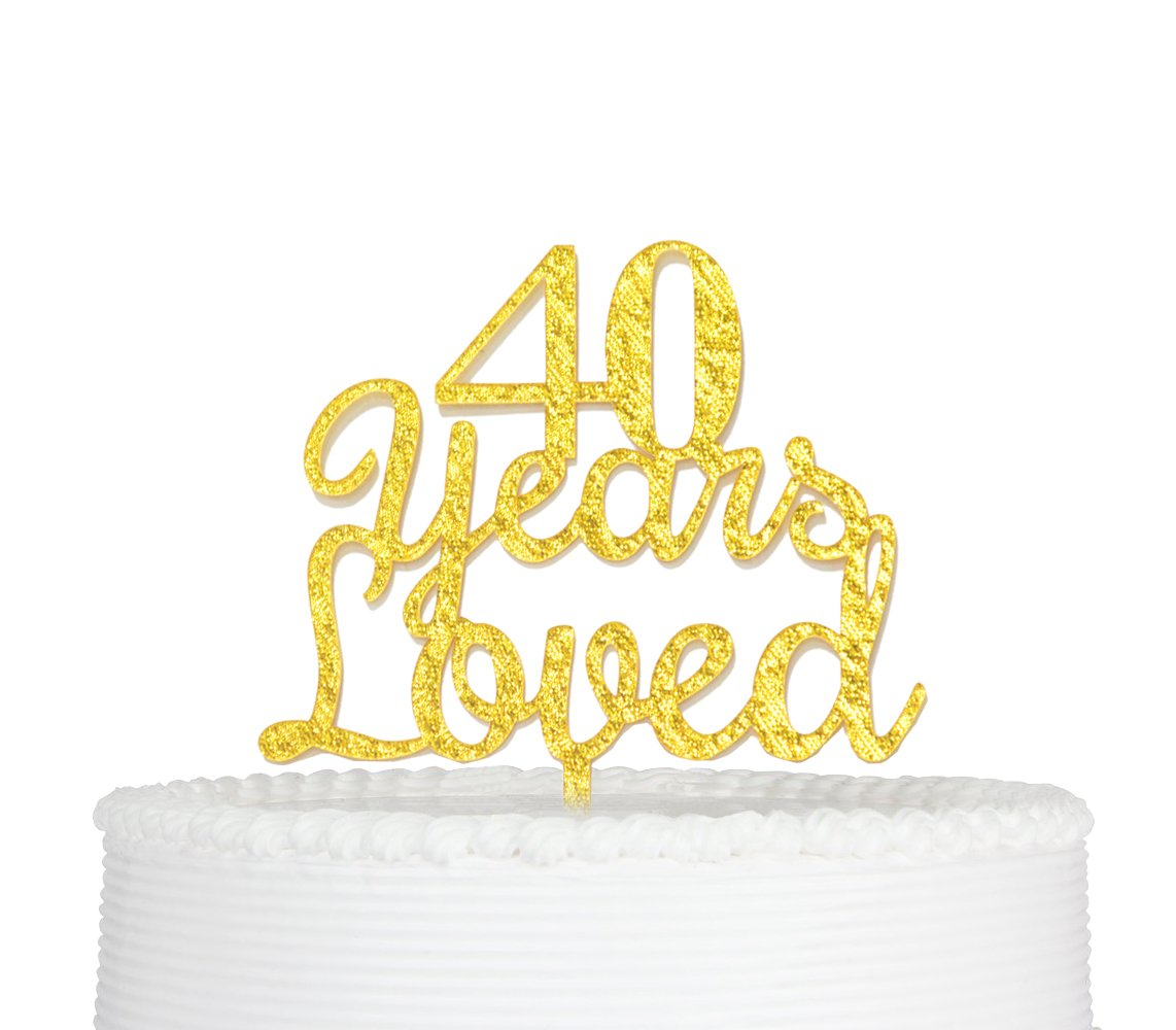 Amazon.com: Qttier(TM) 40 Years Loved Cake Topper Happy 40th ...