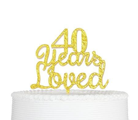 qttier decoración para tarta para 40 años Loved Happy 40th ...