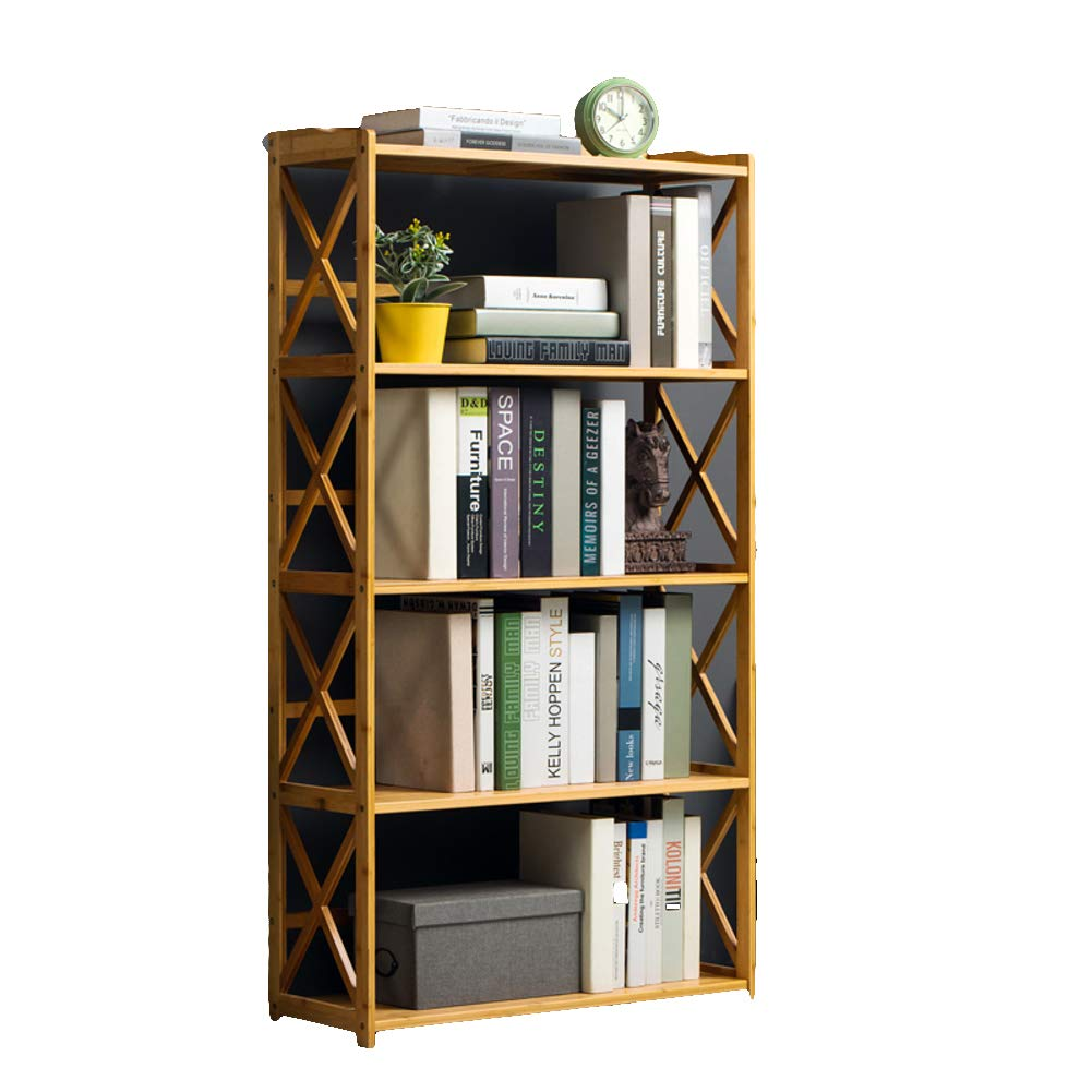 F 70X25X130cm 3-5 Tier Simple Bookcase, Natural Bamboo Easy Assembly Bookshelf for Home Office Storage-B 70X25X70cm
