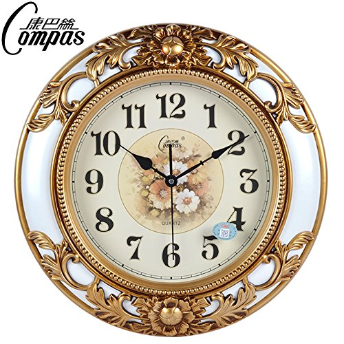 Quartz Wall Clock Mute (CGGHY 18-Inch Wall Clock European-Style Living Room Mute Wall Clock Large Simple Modern Quartz Clock Round Clock Flash White)