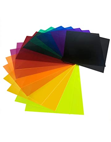 adfc4e85823766 Initial heart 18 Pack Correction Gel Light Filter Sheet Colored Overlays  Transparency Color Film Plastic Sheets