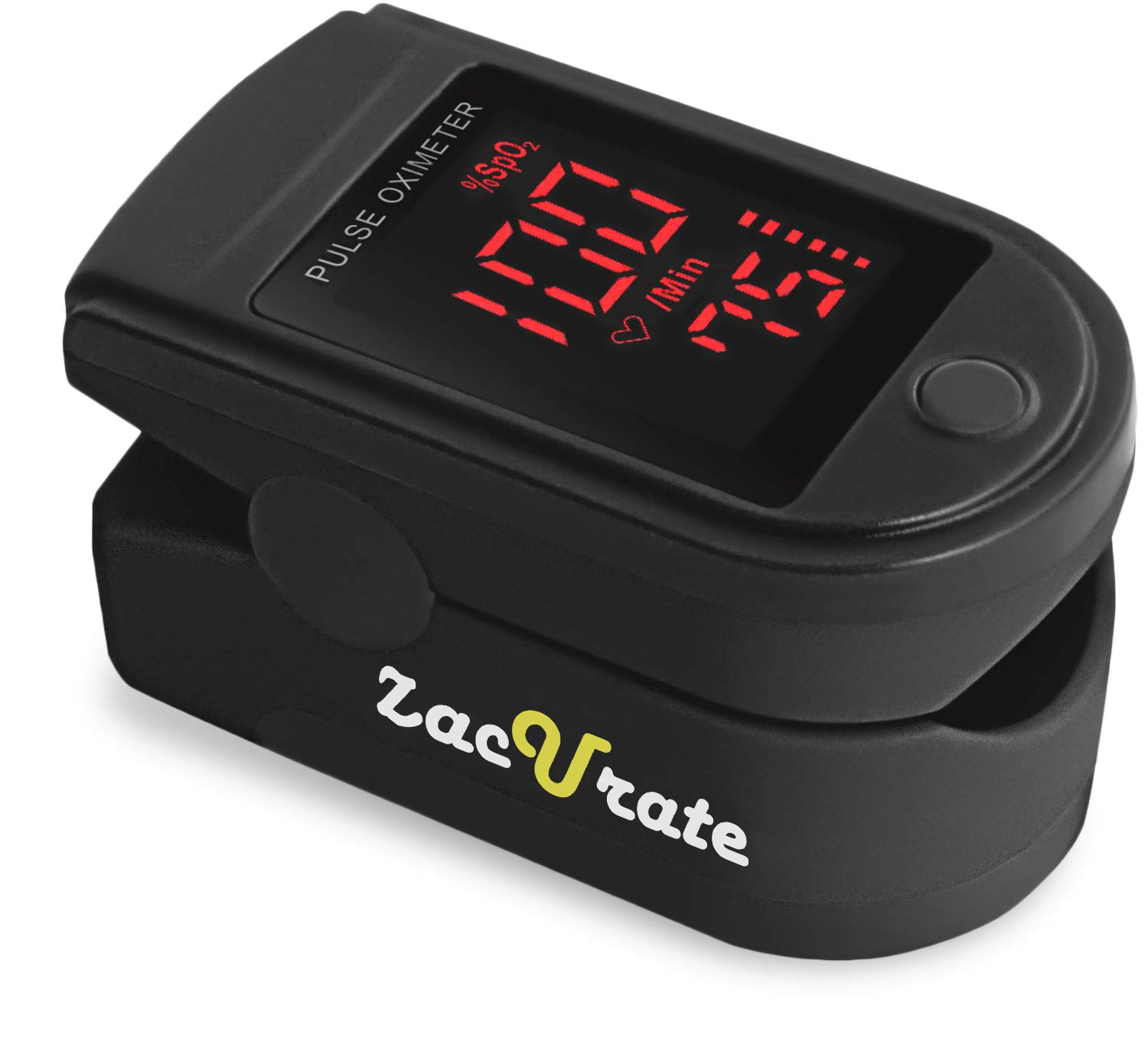 Zacurate Pro 500DL Fingertip Pulse Oximeter Blood Oxygen Saturation Monitor with Silicon Cover, Batteries and Lanyard (Black Series) (Mystic Black)