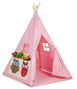 Small boy Kids Canvas Teepee Play Tent Indian Playhouse With Window and Mat By pink owl  sc 1 st  Amazon.com & Amazon.com: Small boy Kids Canvas Teepee Play Tent Indian ...