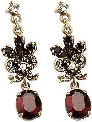 gemstone jewelry Bridal pearl earrings small dangle earrings bridal jewellery garnet and pearl