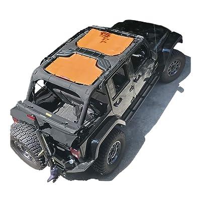 ALIEN SUNSHADE Jeep Wrangler Sunshade 2-Piece Front & Rear Mesh Jeep Tops - Jeep JKU Sunshade 4-Door JKU Top (2007-2020) (Orange): Automotive