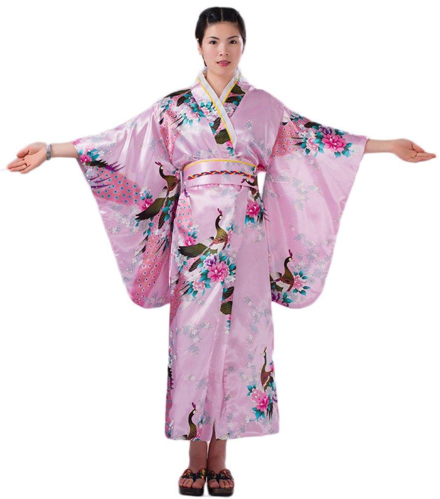 Soojun Women's Traditional Japanese Kimono Style Robe Yukata Costumes 1 Pink, US 2-10