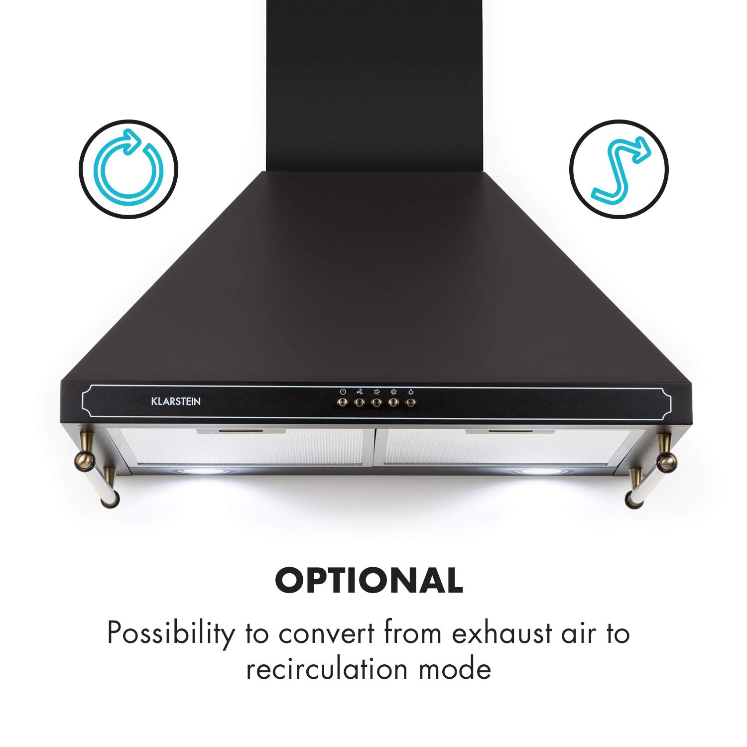 h /• Switchable Cooking Surface Lighting /• 3 Power Levels /• 2 Strips for Utensils /• Black 600 m/³ Klarstein Victoria Cooker Extractor Hood /• Retro Hood /• Wall Exhaust Hood /• Retro Design /• Airflow