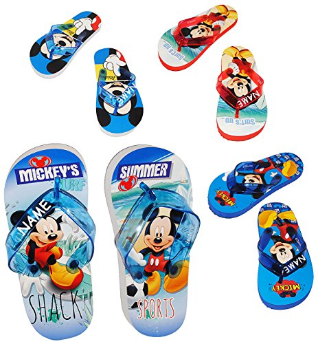 """Zehentrenner Sandalen - Gr. 29 / 30 - """" Disney Mickey Mouse """"- incl. Name - rutschfeste Schuhe Schuh / Badeschuhe mit Profilsohle - für Kinder - Jungen & Mädchen / Hausschuhe Gartenschuhe - Wasserschu"""