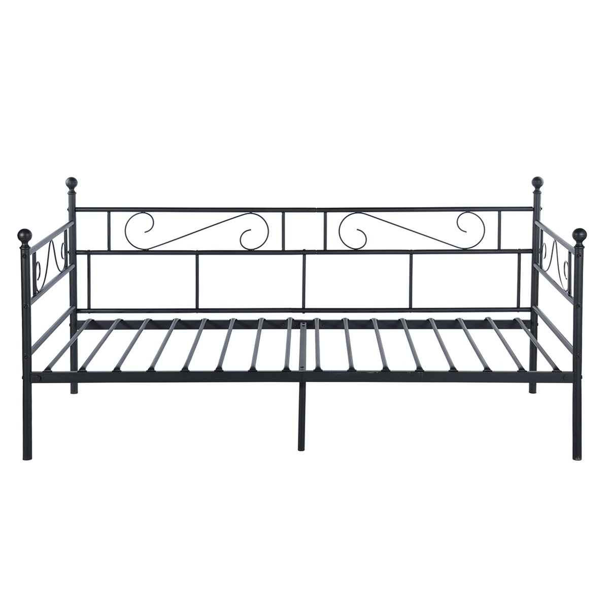 GreenForest Daybed Twin Bed Frame with Headboard and Stable Steel Slats Mattress Platform Base Boxspring Replacement Easy Assembly for Living Room Guest Room Black