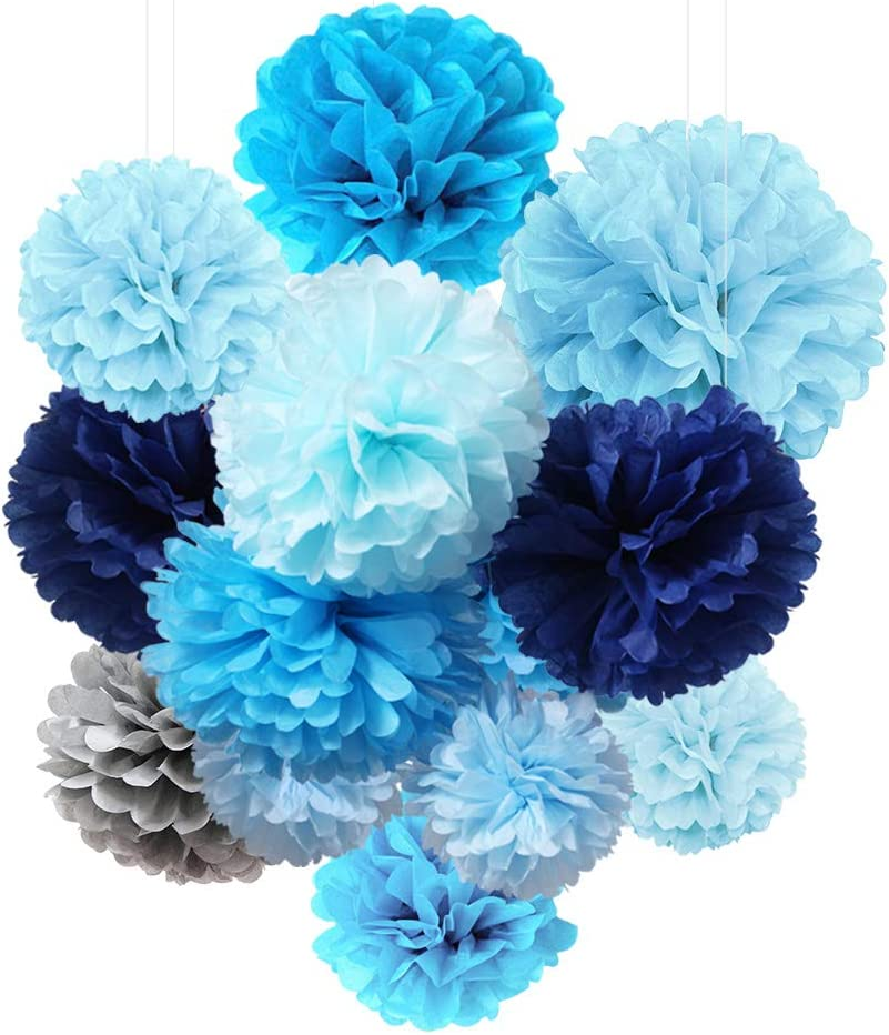 SpirWoRchlan Christmas Decorations Sale 9pcs Mix Tissue Paper Pompoms Pom Poms Flower Handmade Christmas Halloween Wedding Party Decorations Balls Xmas Gifts Stocking Fillers
