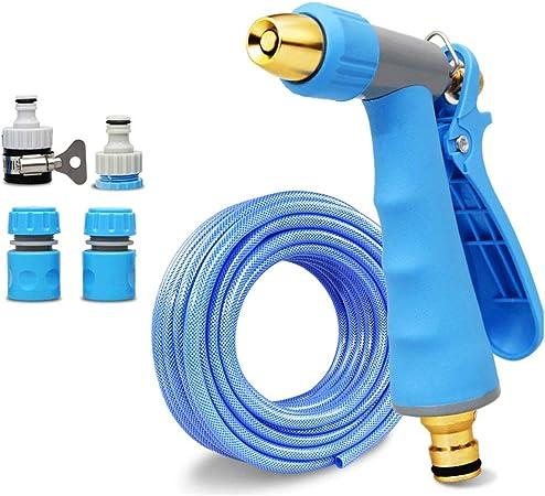 Manguera de jardín, tubo de agua liviano para lavado de autos flexible a alta presión, cabeza de pistola de rociado para artefactos domésticos, cepillo, herramienta de ajuste de mangueras para limpiez: Amazon.es: