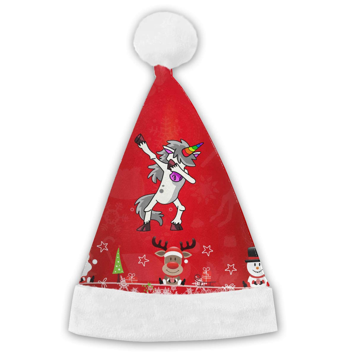 417a4ec7320d8 Dabbing Unicorn Christmas Hat Santa Claus Cap Kids Adults Festive Holiday  Hat at Amazon Men s Clothing store