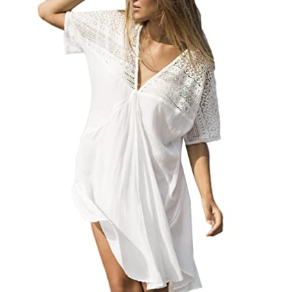 Damen Strand Minikleid Sommerkleid Bikini Badekleider Tunika Longshirt Party Top