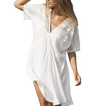 MCYs Bikini Cover Up Bikini Tunika Bluse Spitze Lang Strandkleid Damen Push  Up Strandponcho Sommer Kleid