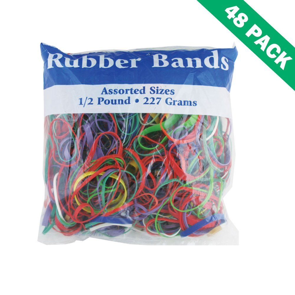 Color Rubber Bands, Rubber Band Office Assorted Sizes Color 0.5 Lbs (48 Pack)