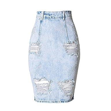 Dreamskull Damen Frauen Mädchen Elegant Jeans Skirt Rock Kleid