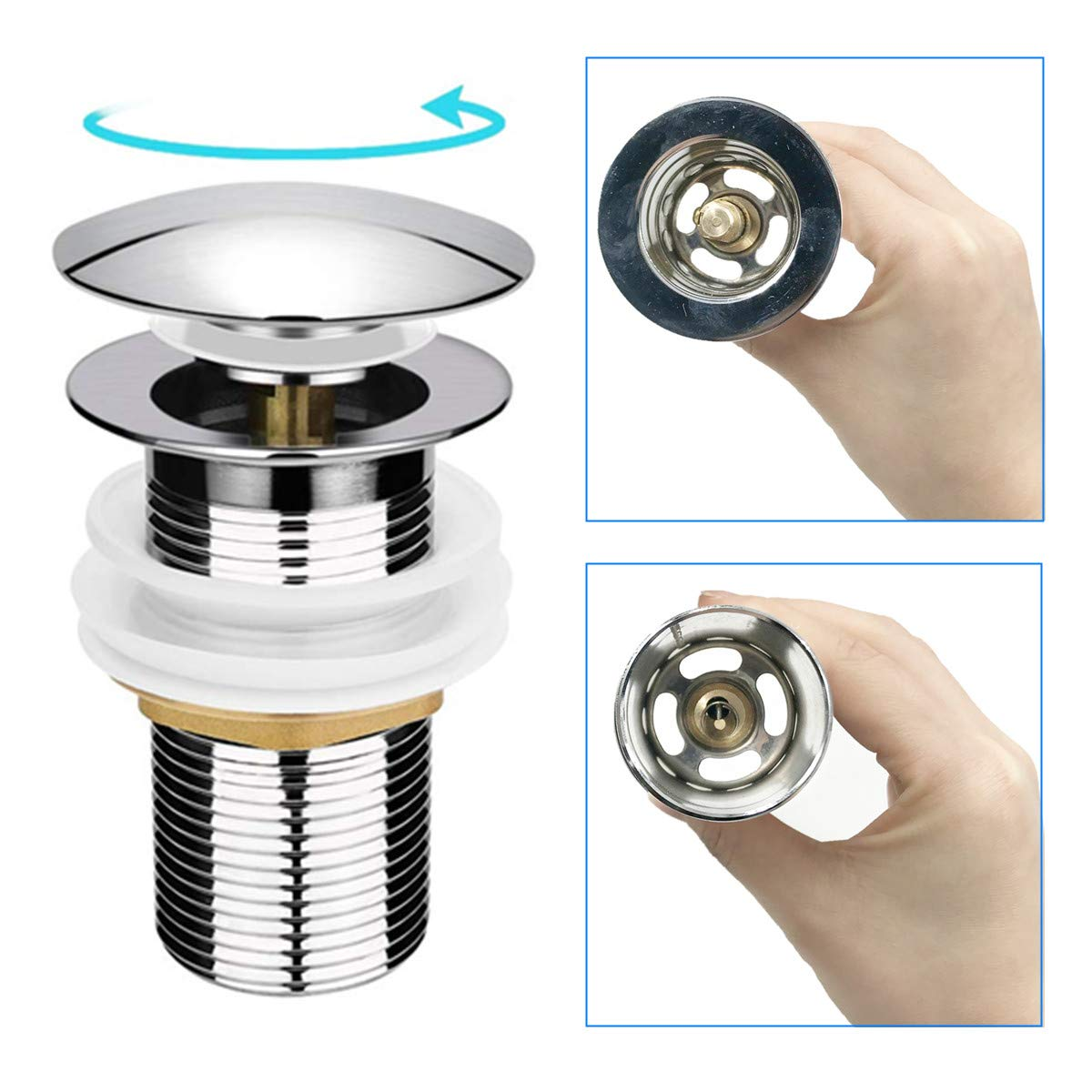 Basin Sink Waste Stainless Steel Unslotted Basin Sink Tap Push Pop Up Click Clack Sprung Plug