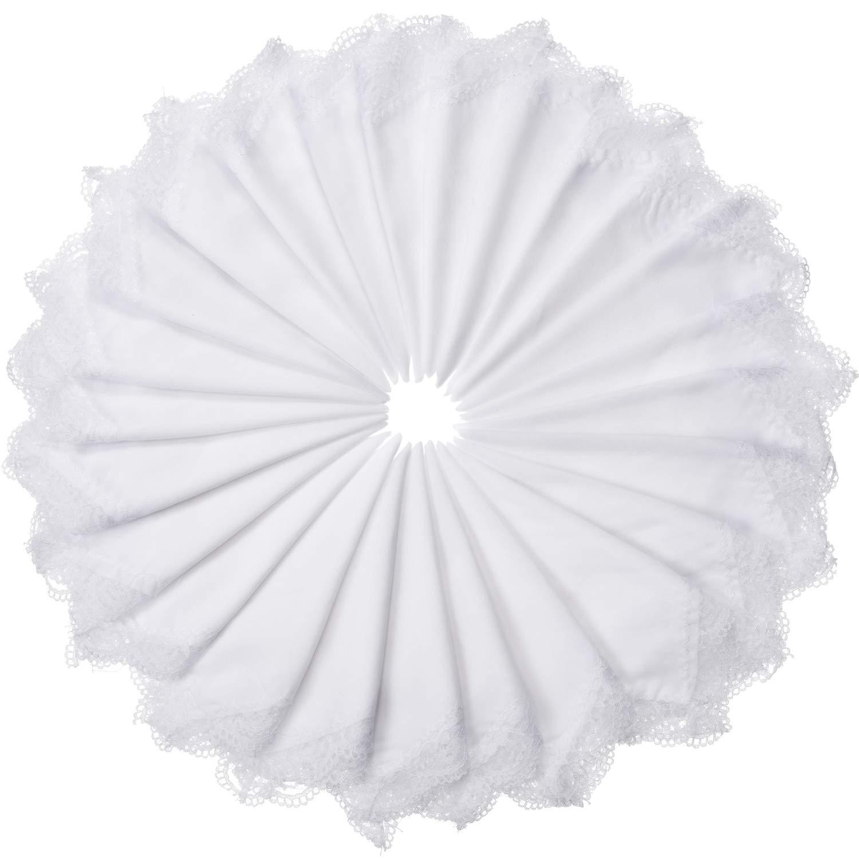 Boao 24 St/ücke Damen Baumwolle Taschentuch mit Spitze Baumwolle Rein Wei/ß mit Spitzen Kante Taschentuch f/ür Frauen